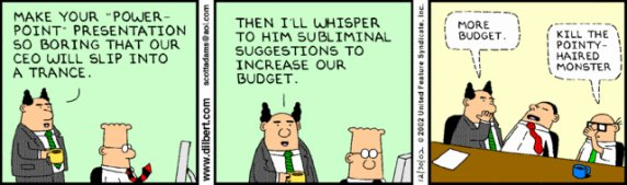 Dilbert strip on PowerPoint