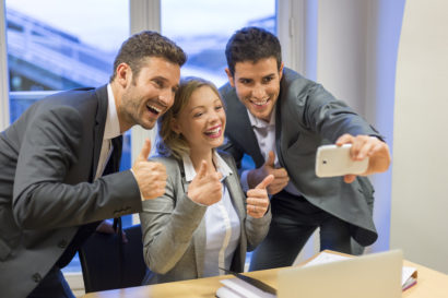 selfie business woman and men - social media impacts us election