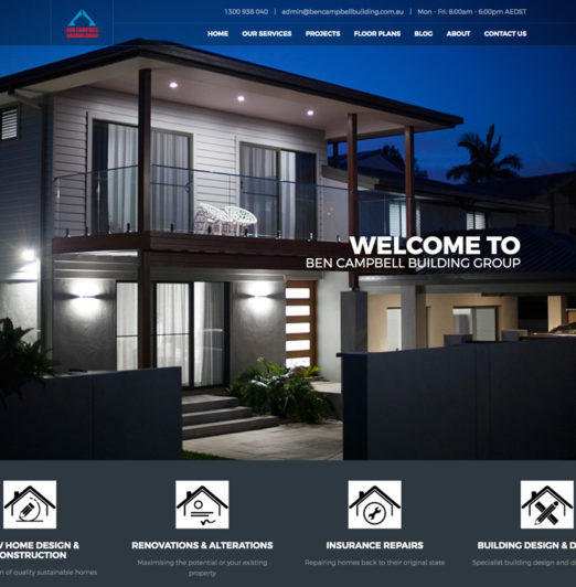 Ben Campbell Building Group New Website project Building and Construction services industry