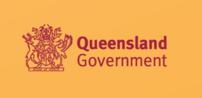 queensland government logo on orange background