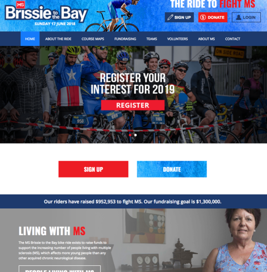 brissie-to-the-bay fundraising website development and support