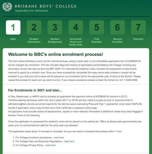 brisbane boys college case study enrolment payment system and process page for website