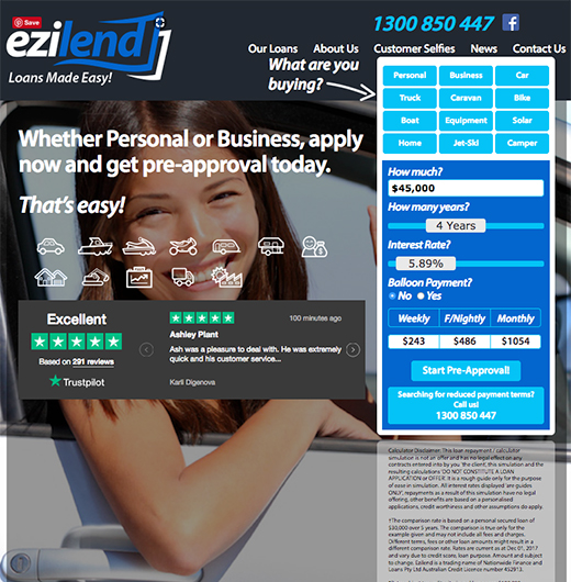 ezilend case study brand development, website design and support