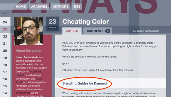 24 Ways article containing the words Branding Guides be Damned