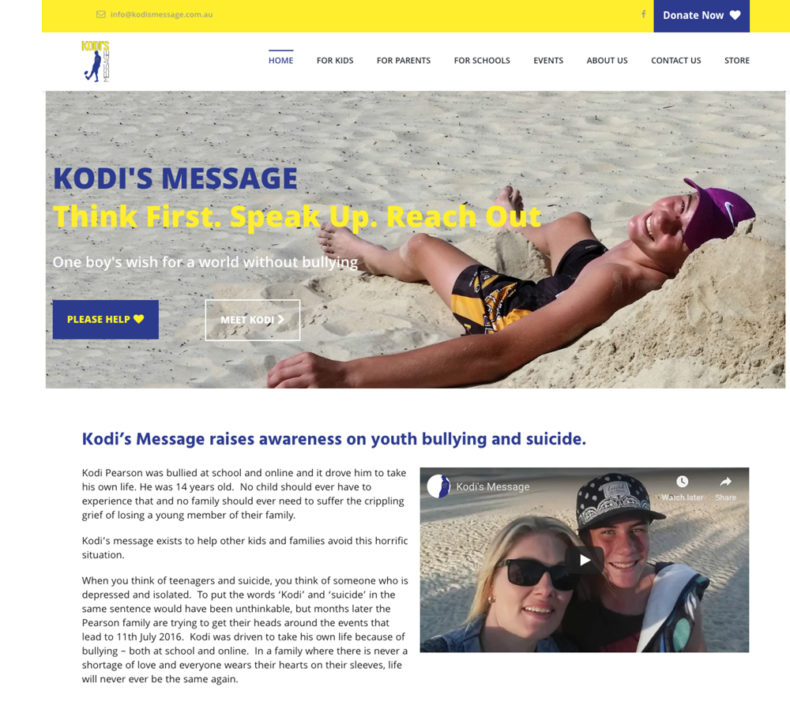 kodis message website development for not-for-profit organisation