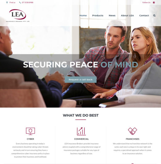 LEA Insurance Brokers Financial Services Industry Website Design, Strategy and digital advisory services provided by knd