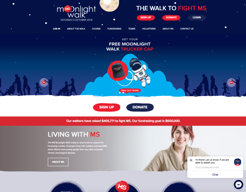 moonlight-walk not-for-profit website development, strategy and support